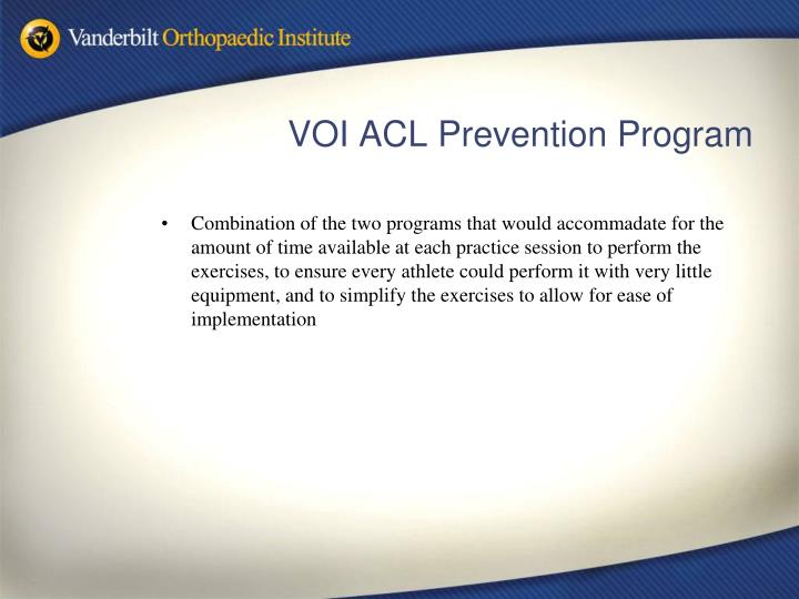 VOI ACL Prevention Program