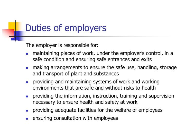 Duties of employers