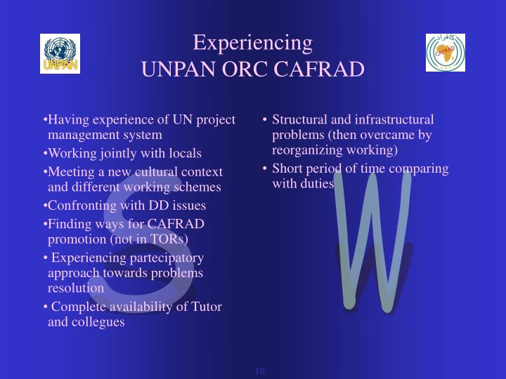 Having experience of UN project  management system