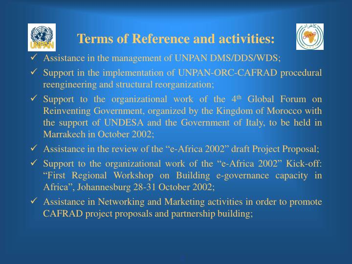 Terms of reference and activities