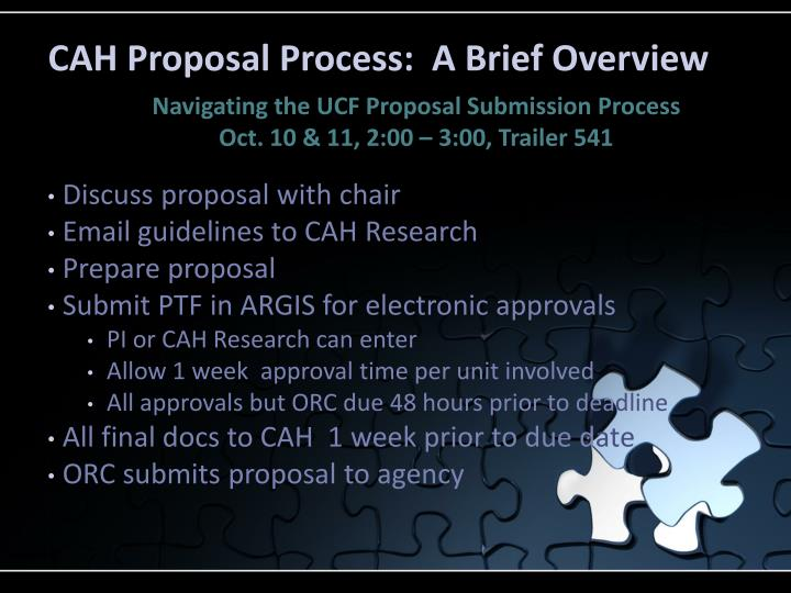 CAH Proposal Process:  A Brief Overview
