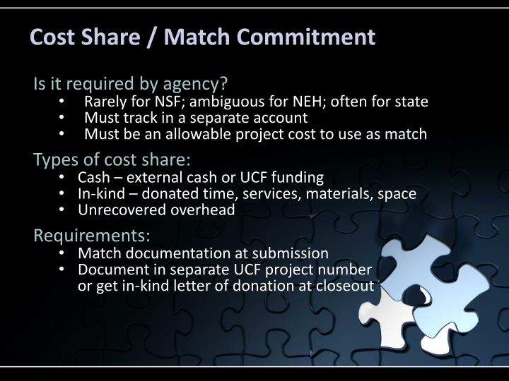 Cost Share / Match Commitment