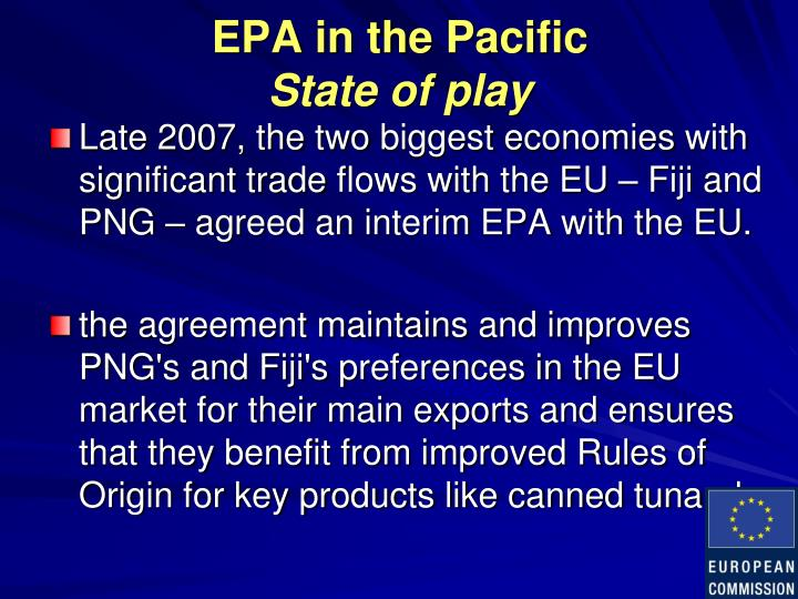 EPA in the Pacific