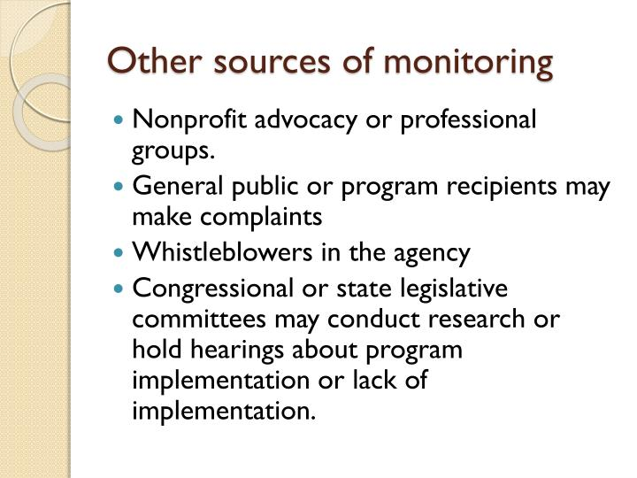 Other sources of monitoring