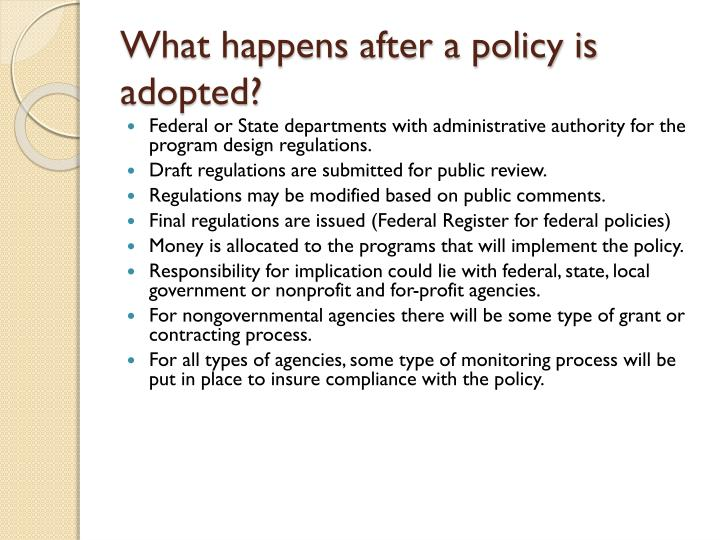 What happens after a policy is adopted