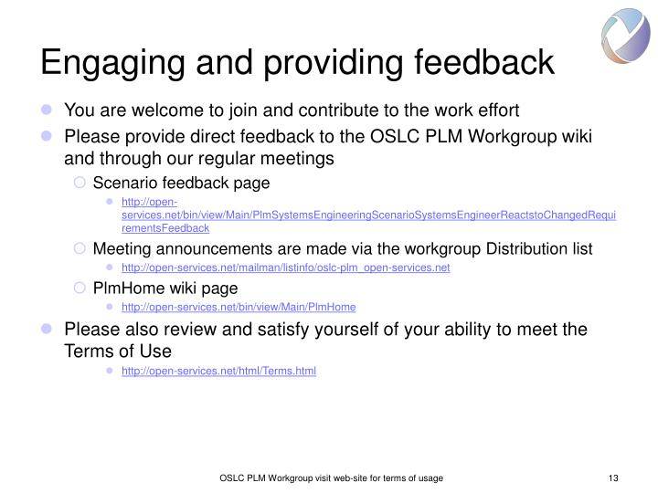 Engaging and providing feedback