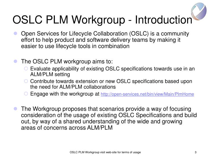 Oslc plm workgroup introduction