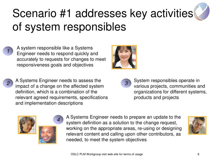 Scenario #1 addresses key activities of system responsibles