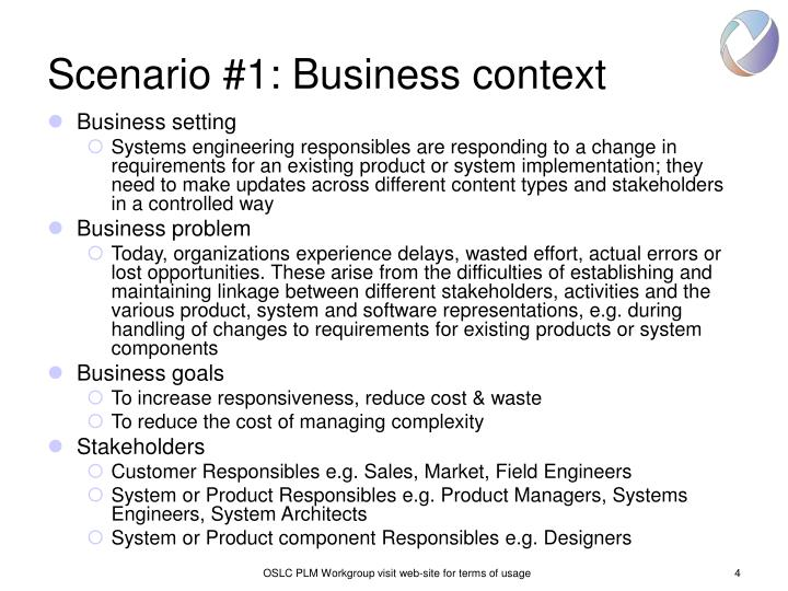Scenario #1: Business context