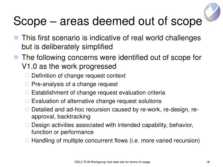 Scope – areas deemed out of scope
