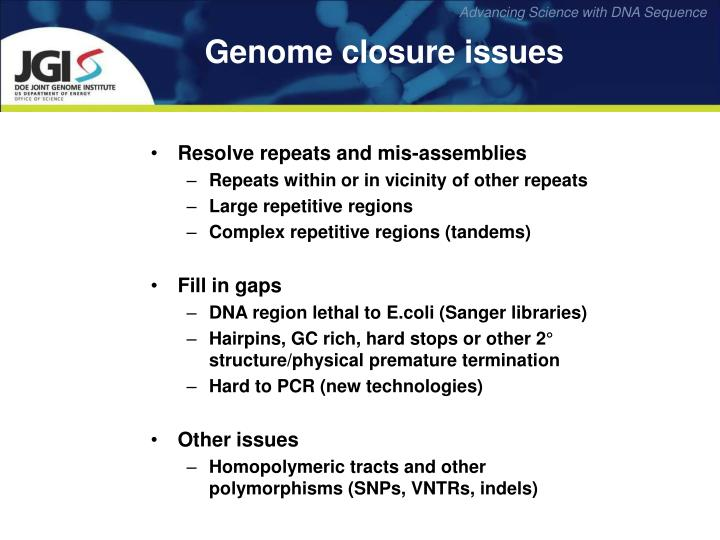 Genome closure issues
