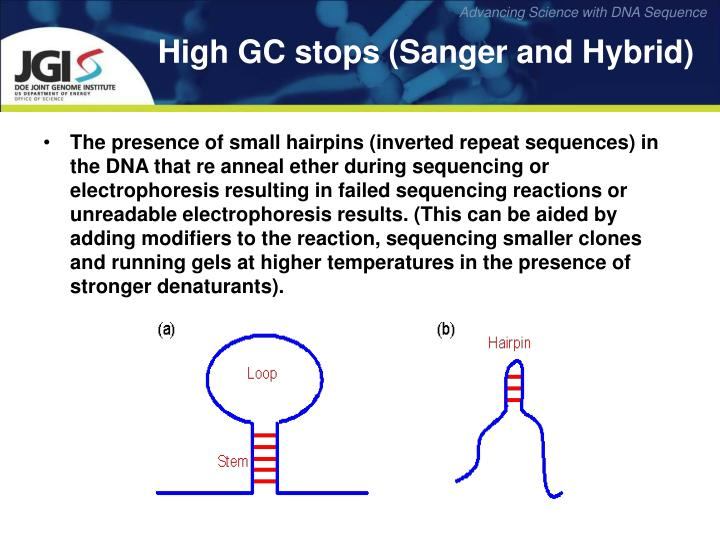 The presence of small hairpins (inverted repeat sequences) in the DNA that re anneal ether during sequencing or electrophoresis resulting in failed sequencing reactions or unreadable electrophoresis results. (This can be aided by adding modifiers to the reaction, sequencing smaller clones and running gels at higher temperatures in the presence of stronger denaturants).