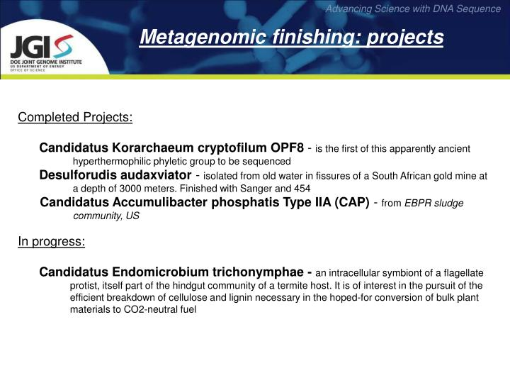 Metagenomic finishing: projects