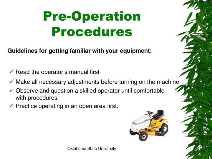 Pre-Operation Procedures