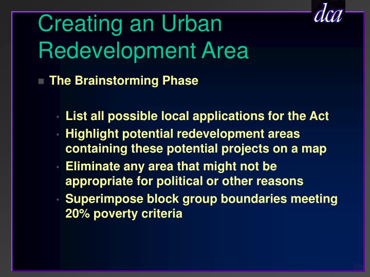 Creating an Urban Redevelopment Area