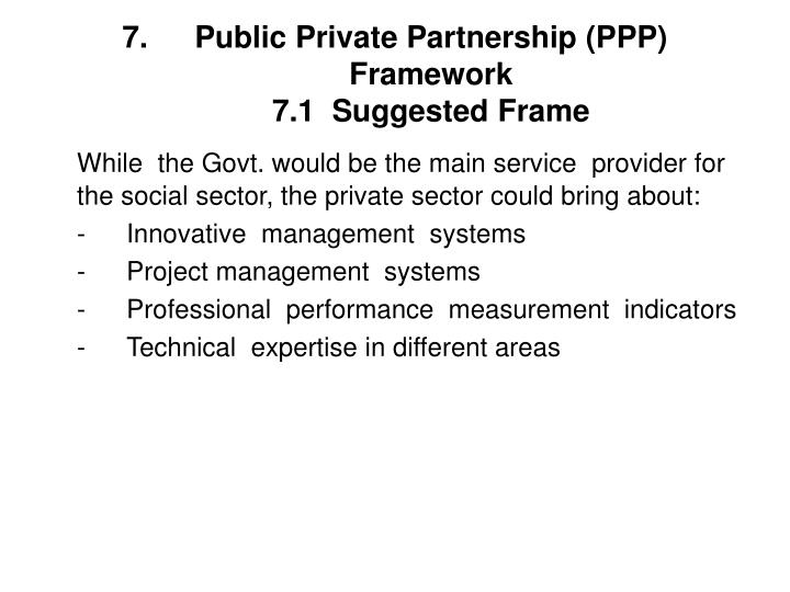 Public Private Partnership (PPP) Framework