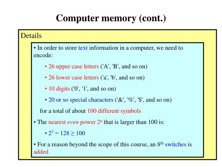 Computer memory (cont.)
