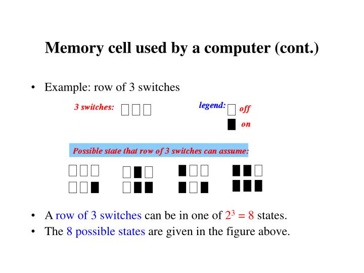 Memory cell used by a computer (cont.)