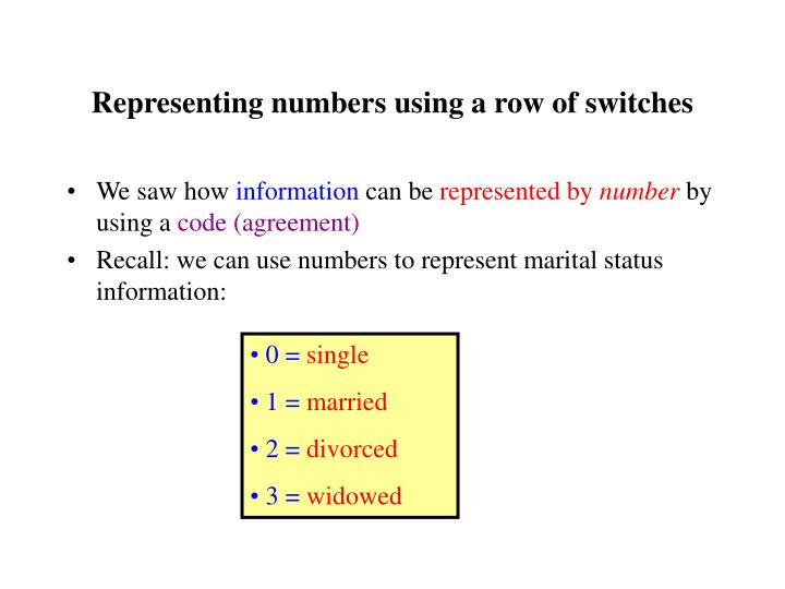 Representing numbers using a row of switches