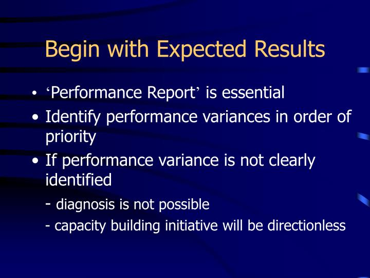 Begin with Expected Results