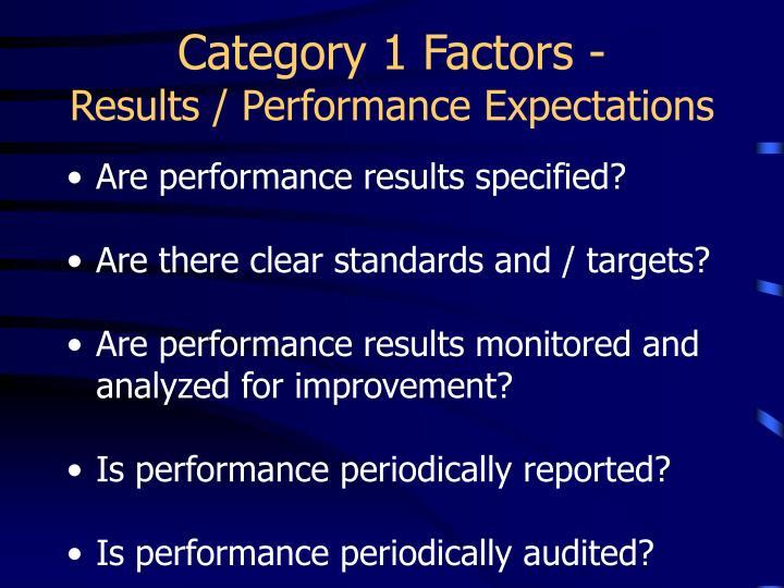 Category 1 Factors -