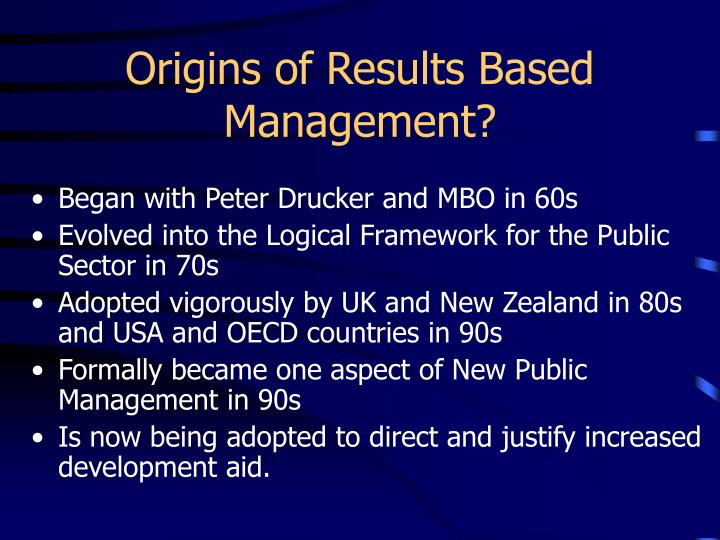 Origins of Results Based Management?