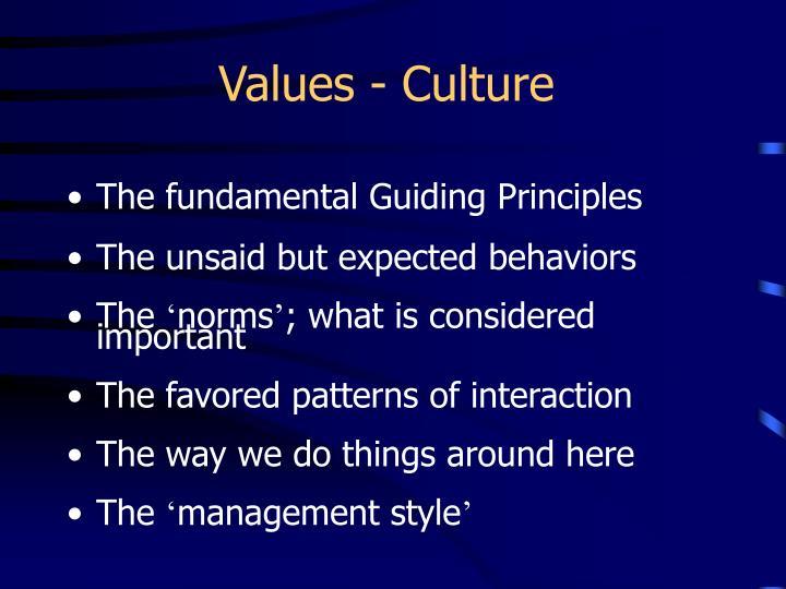 Values - Culture