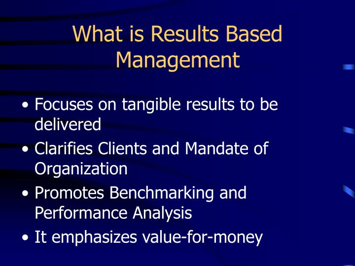 What is results based management