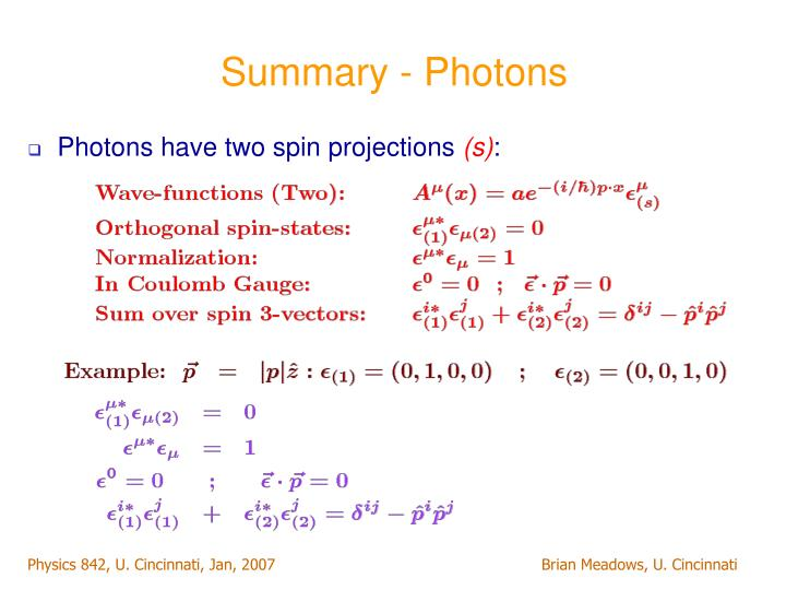 Summary - Photons