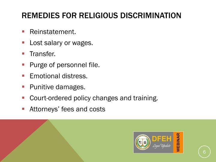 REMEDIES for religious discrimination