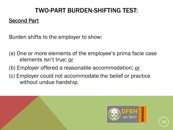 Two-Part Burden-Shifting Test: