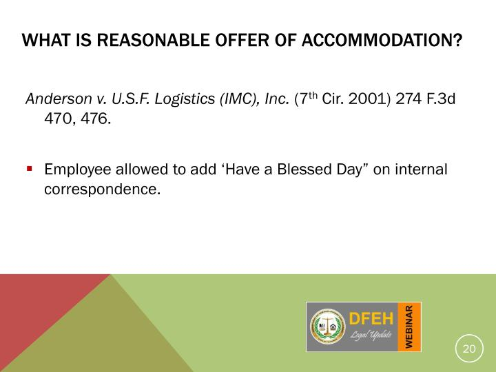 What Is Reasonable Offer Of Accommodation?