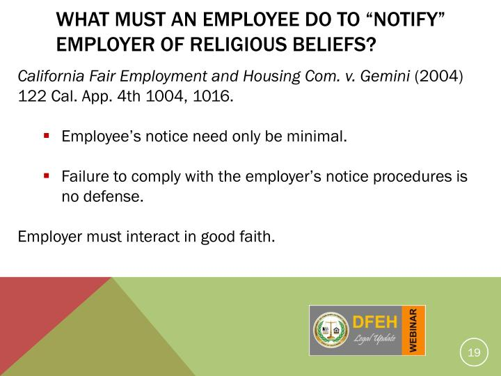 "What Must An Employee Do To ""Notify"" Employer Of Religious Beliefs?"