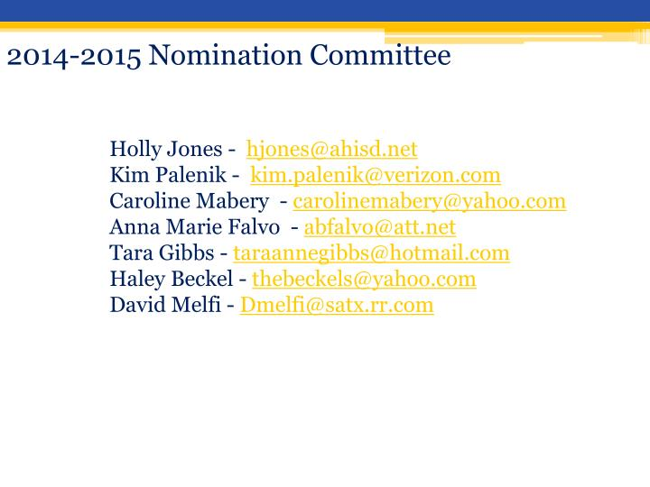 2014-2015 Nomination Committee