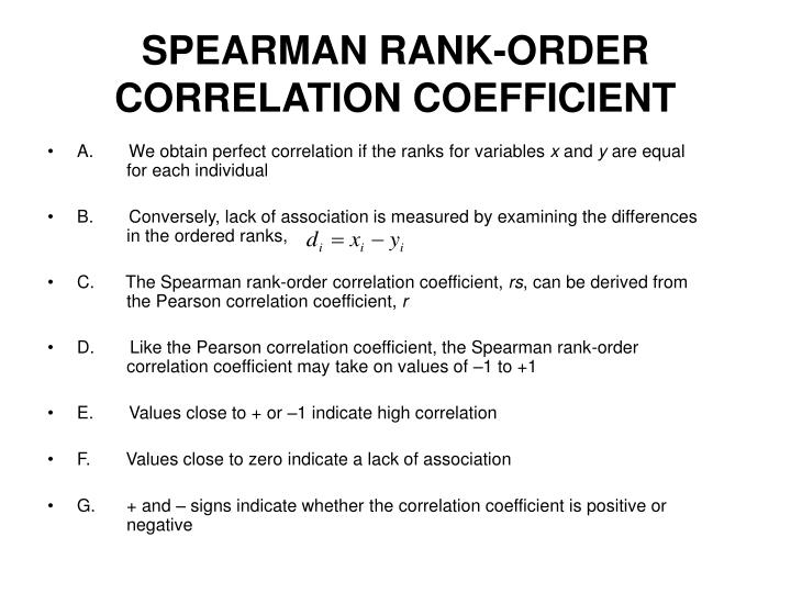 SPEARMAN RANK-ORDER CORRELATION COEFFICIENT