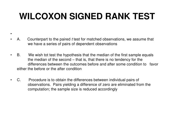 WILCOXON SIGNED RANK TEST