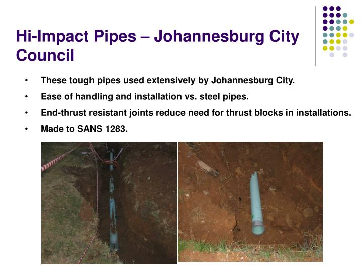 Hi-Impact Pipes – Johannesburg City Council