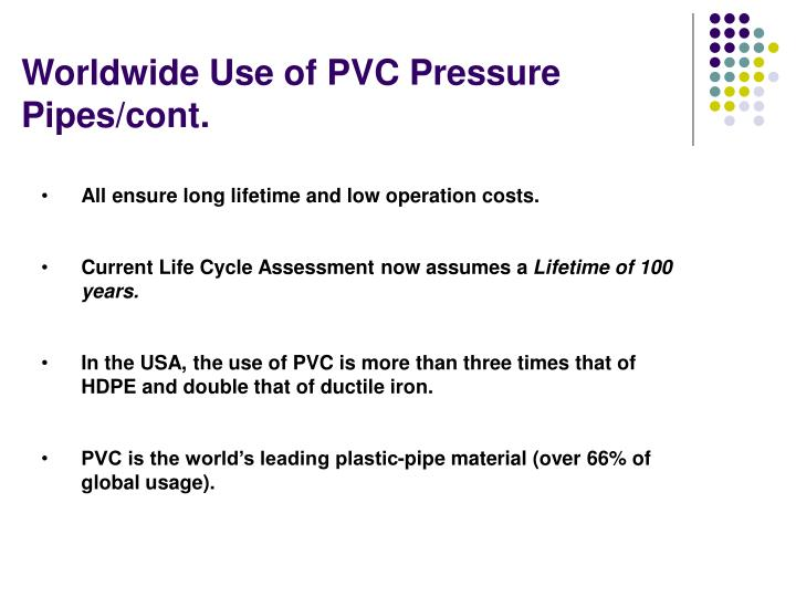 Worldwide Use of PVC Pressure Pipes/cont.