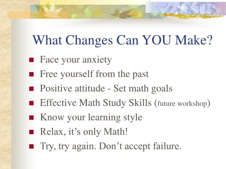 how to reduce math test anxiety Do you have math anxiety a self test 40-50 sure thing,you have math anxietycheck my 10 hints on how to reduce math anxiety 30-39 no doubt.