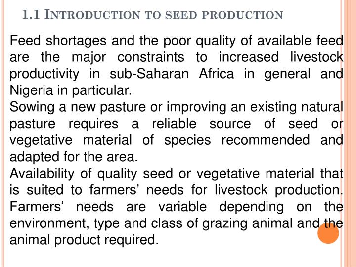 1.1 Introduction to seed production
