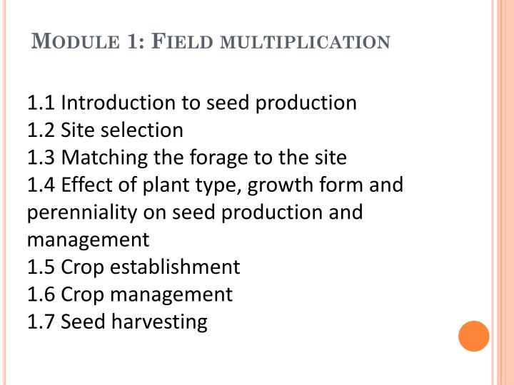 Module 1: Field multiplication