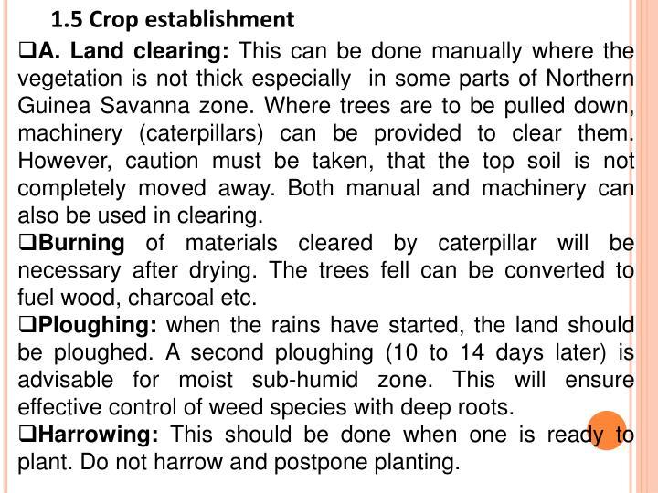 1.5 Crop establishment