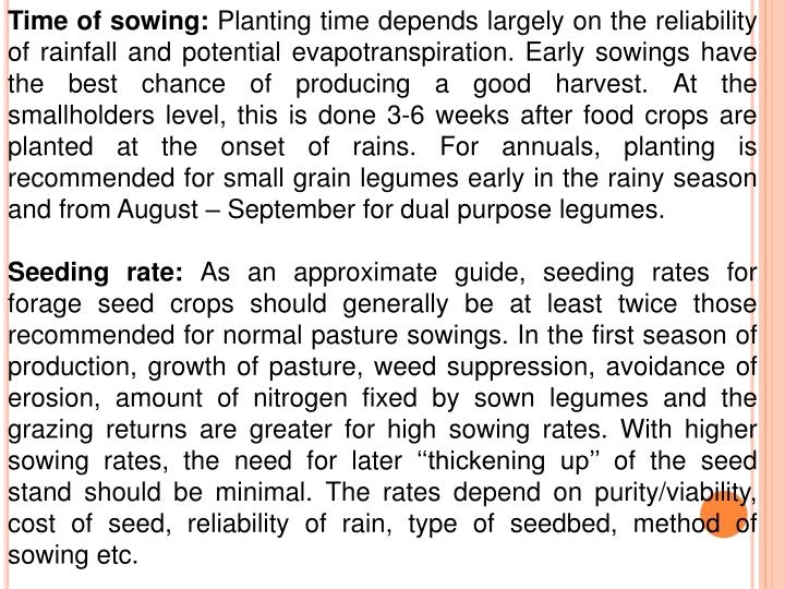 Time of sowing: