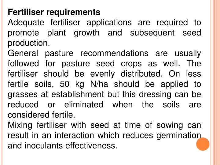 Fertiliser requirements