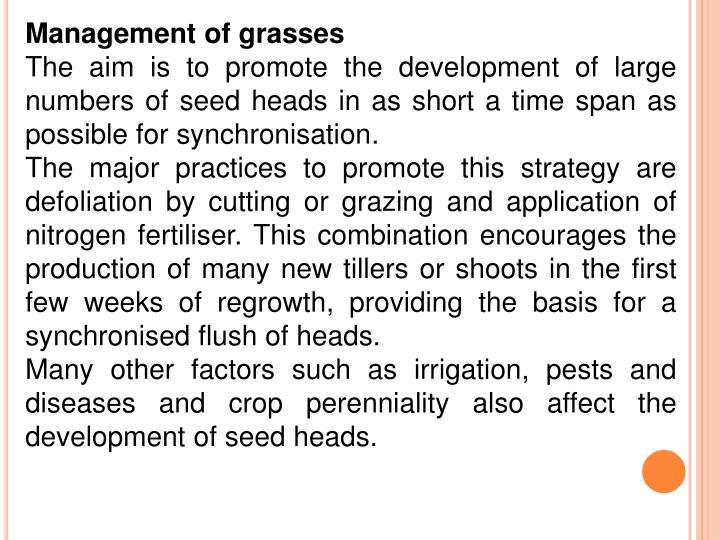 Management of grasses
