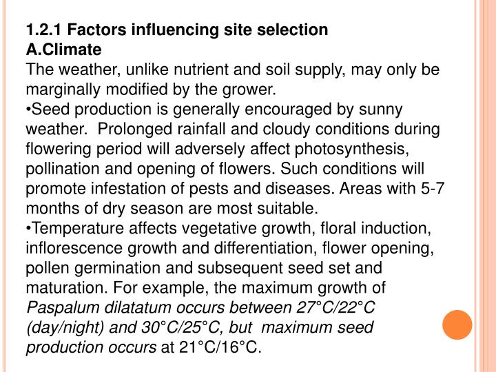 1.2.1 Factors influencing site selection
