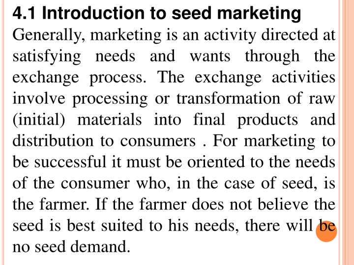 4.1 Introduction to seed marketing