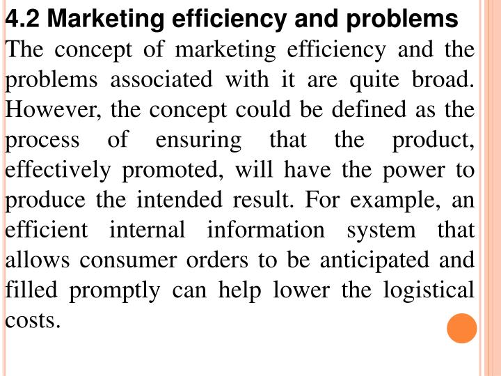 4.2 Marketing efficiency and problems