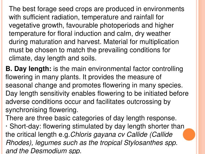 The best forage seed crops are produced in environments with sufficient radiation, temperature and rainfall for vegetative growth, favourable photoperiods and higher temperature for floral induction and calm, dry weather during maturation and harvest. Material for multiplication must be chosen to match the prevailing conditions for climate, day length and soils.
