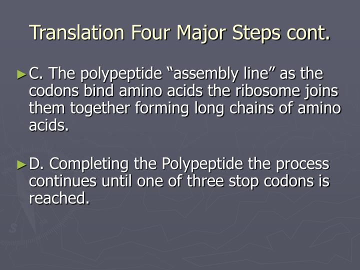 Translation Four Major Steps cont.